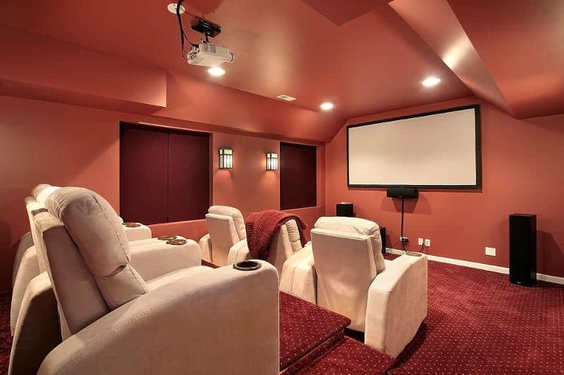 Home theater room in a house.