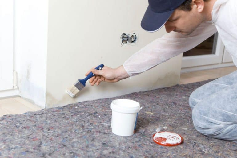A man painting walls with a mold-resistant paint
