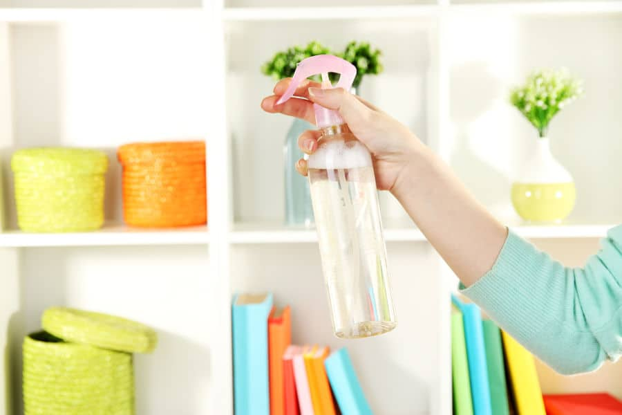 Use a room freshener spray to get rid of bleach smell.