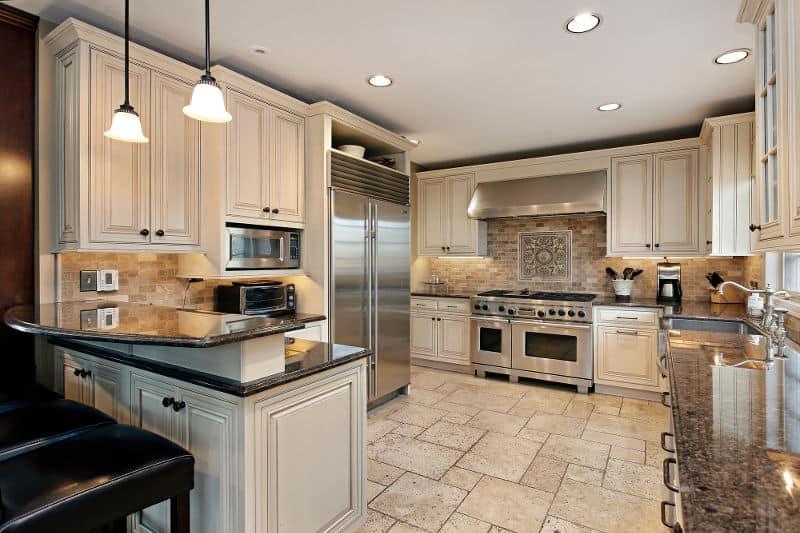 G-shaped kitchen layout.