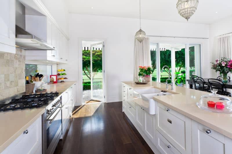 Galley kitchen layout.