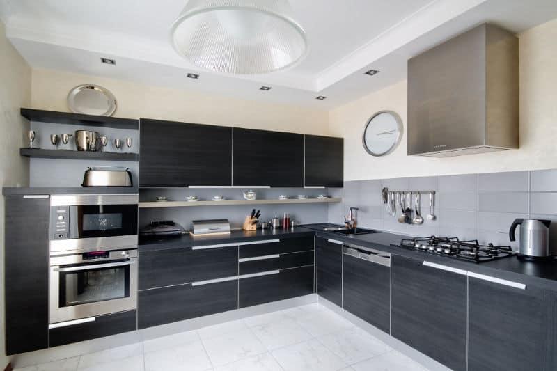 L-shaped kitchen layout.