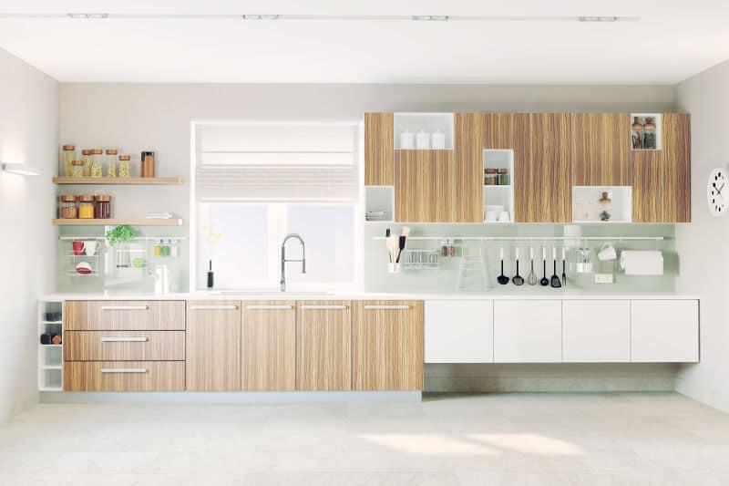 Modern one wall kitchen layout.