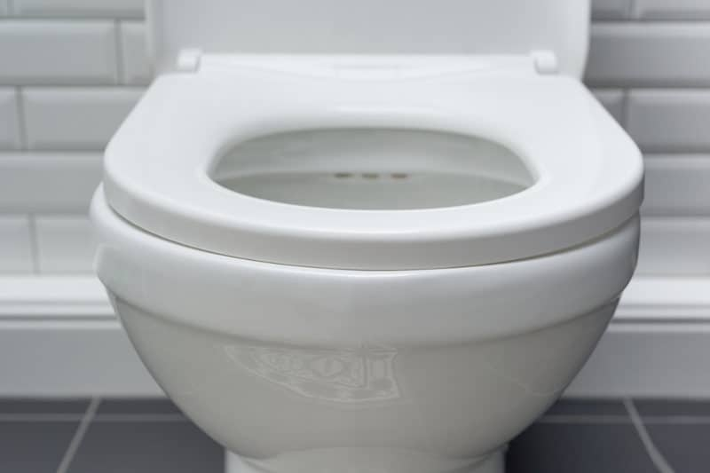 A clean toilet seat after using a urine stain remover.