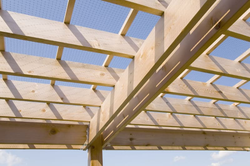 Joists and beams in construction.