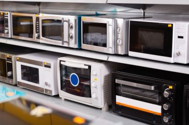Microwave ovens of different sizes.