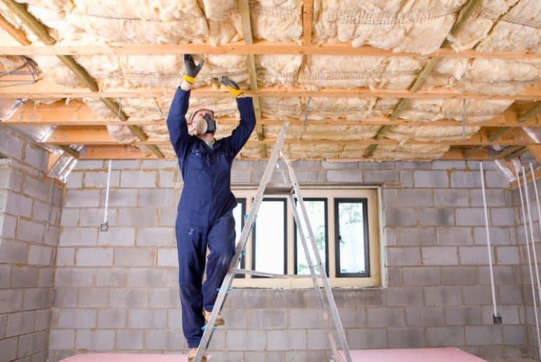 Insulating basement ceiling.