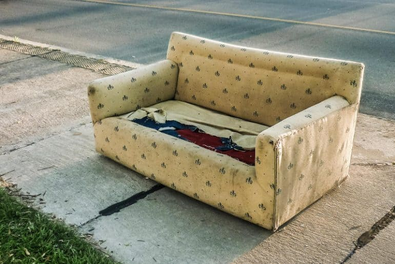 Getting rid of an old couch/sofa.
