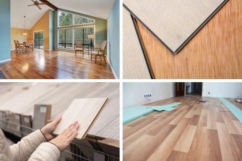 Hardwood, laminate, and vinyl flooring comparison.