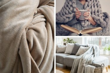 Three different kinds of blankets: throw, fleece, and wearable blanket.